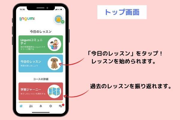 幼児英語アプリLingumiのトップ画面