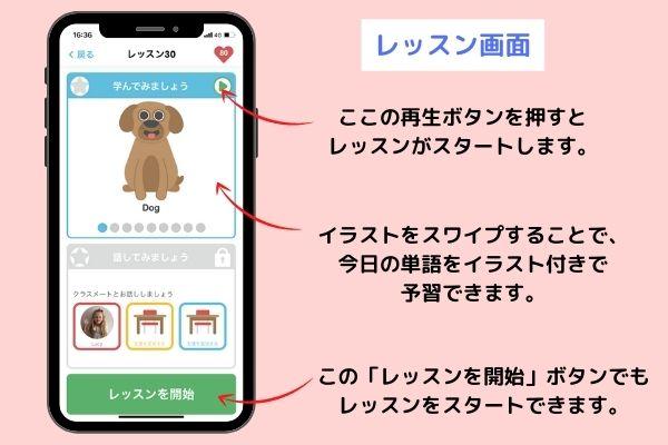 幼児英語アプリLingumiのレッスン画面