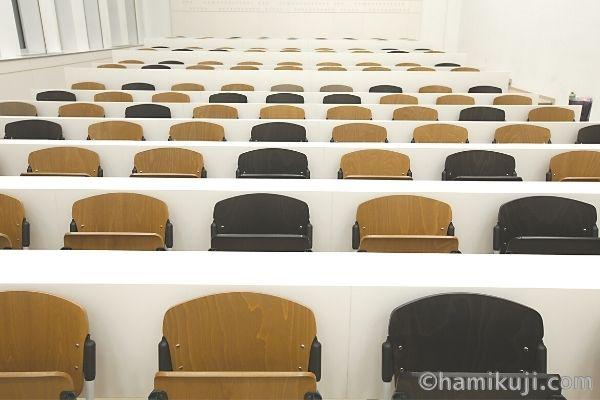 TOEIC会場:大学講堂の机とイスのイメージ